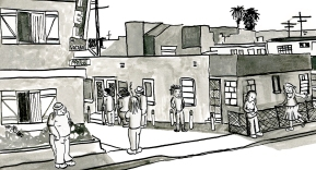 Pico Blvd. circa 1976 was awash in half-houses and a slowly growing homeless population.
